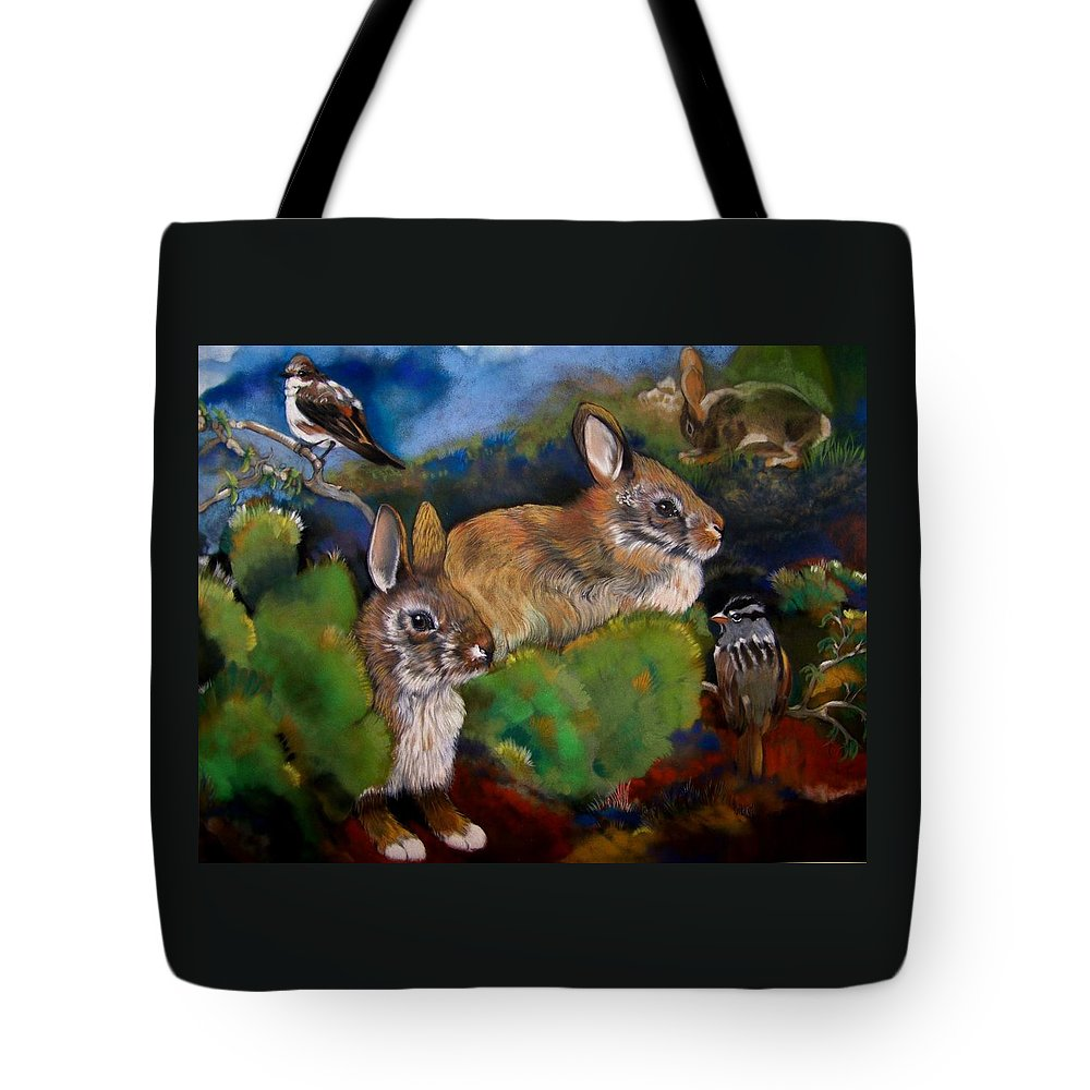 Rabbits Birds Tote Bag featuring the pastel Spring Break by Marika Evanson