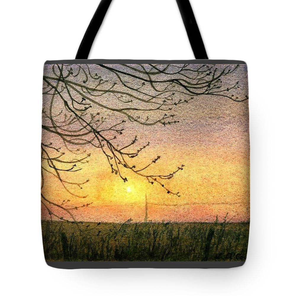 Landscape Tote Bag featuring the painting Spring Buds Sunset by Lynn ACourt