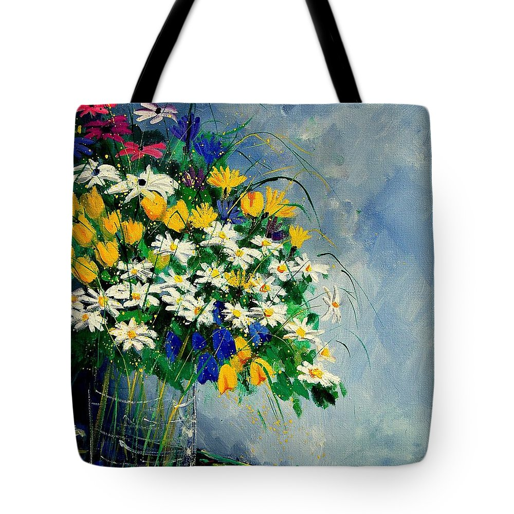 Flowers Tote Bag featuring the painting Spring Bunch by Pol Ledent