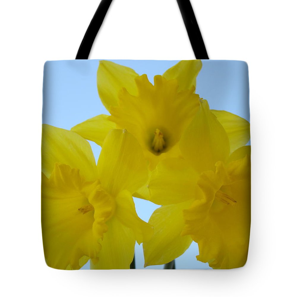 �daffodils Artwork� Tote Bag featuring the photograph Spring Daffodils 2 Flowers Art Prints Gifts Blue Sky by Baslee Troutman