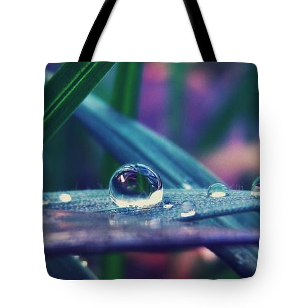 Droplets Tote Bag featuring the photograph Spring Droplet by Devin Dixon