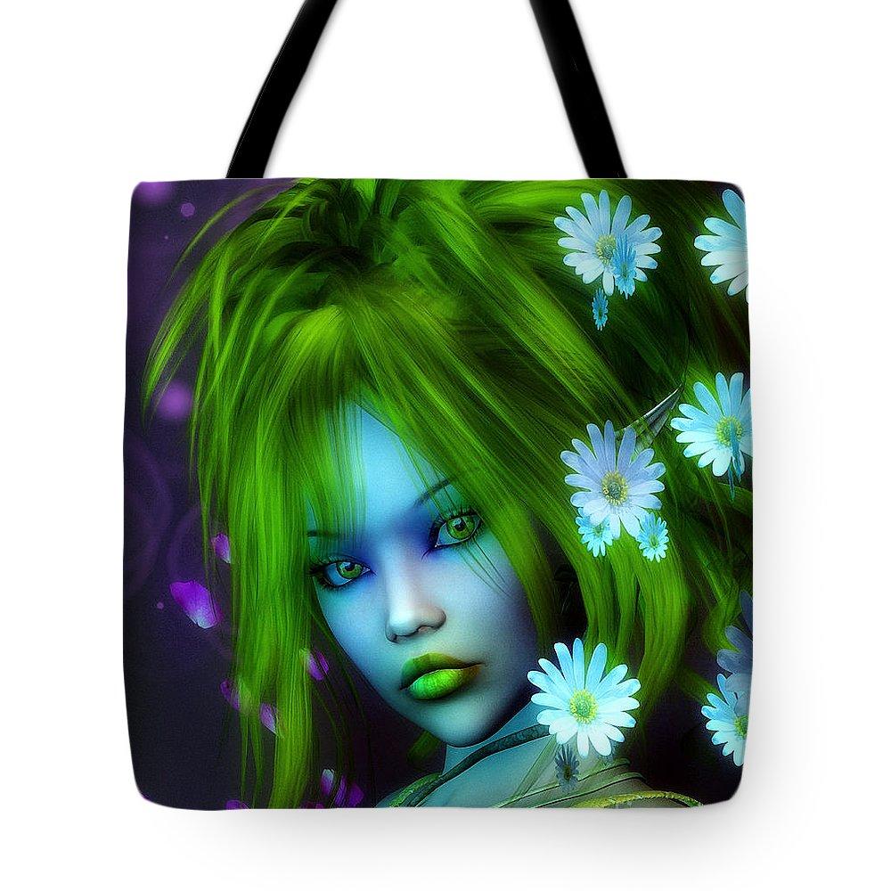 3d Tote Bag featuring the digital art Spring Elf by Jutta Maria Pusl