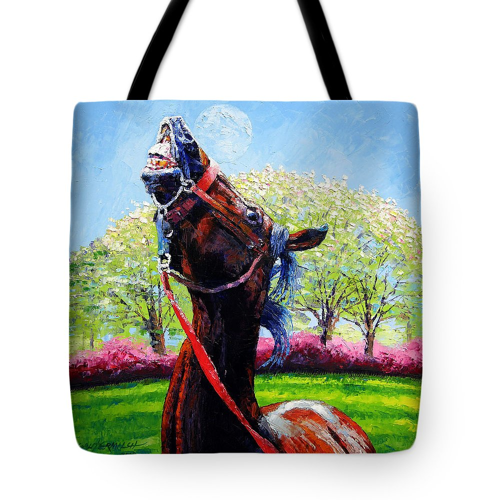 Horse Tote Bag featuring the painting Spring Fever by John Lautermilch