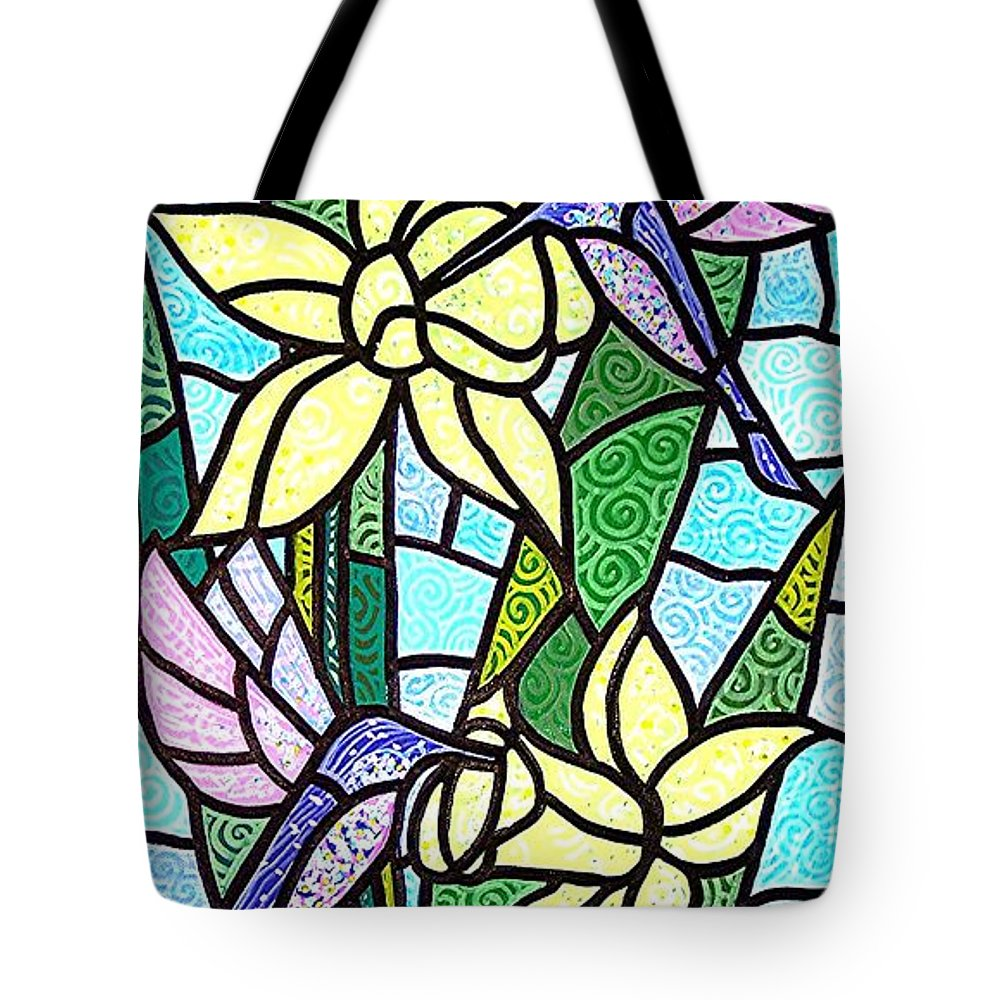 Flowers Tote Bag featuring the painting Spring Fling by Jim Harris