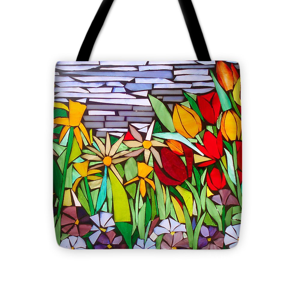 Flowers Tote Bag featuring the glass art Spring Floral Mosaic by Liz Lowder