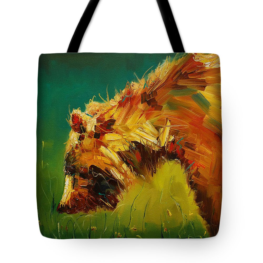 Bear Tote Bag featuring the painting Spring Flower Bear by Diane Whitehead