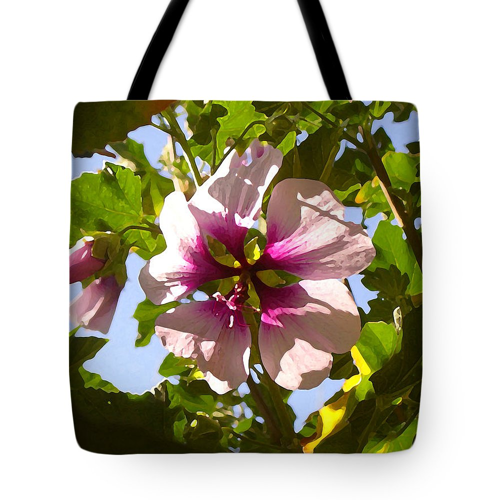 Flower Tote Bag featuring the painting Spring Flower Peeking Out by Amy Vangsgard