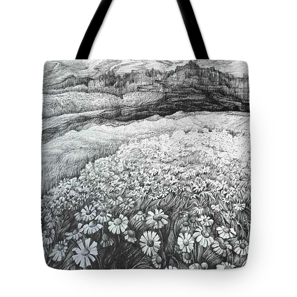 Flower Tote Bag featuring the drawing Spring Flowers by Anna Duyunova