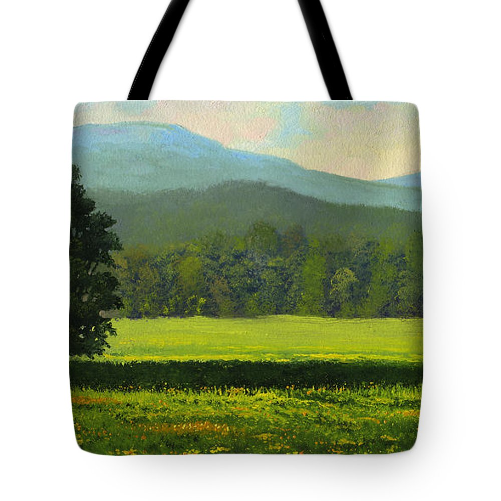 Landscape Tote Bag featuring the painting Spring Flowers by Frank Wilson