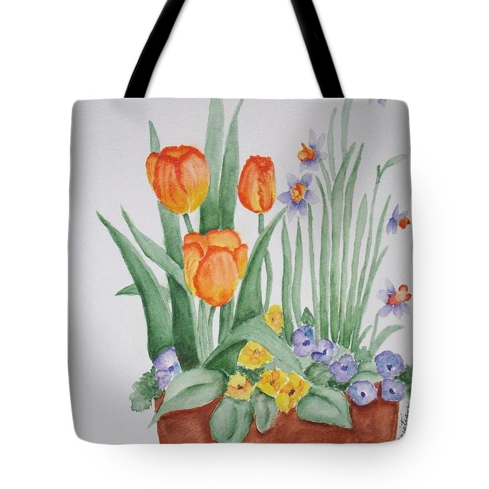 Florals Tote Bag featuring the painting Spring Flowers by Phyllisa Christian