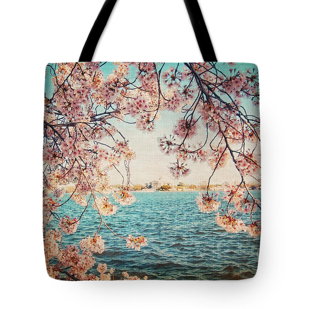 Cherry Blossoms Tote Bag featuring the photograph Spring In Dc by Emily Kay