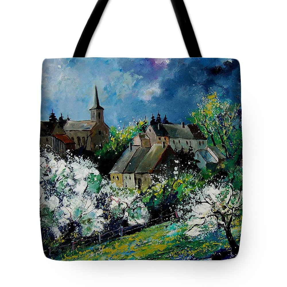 Spring Tote Bag featuring the painting Spring In Fays Famenne by Pol Ledent