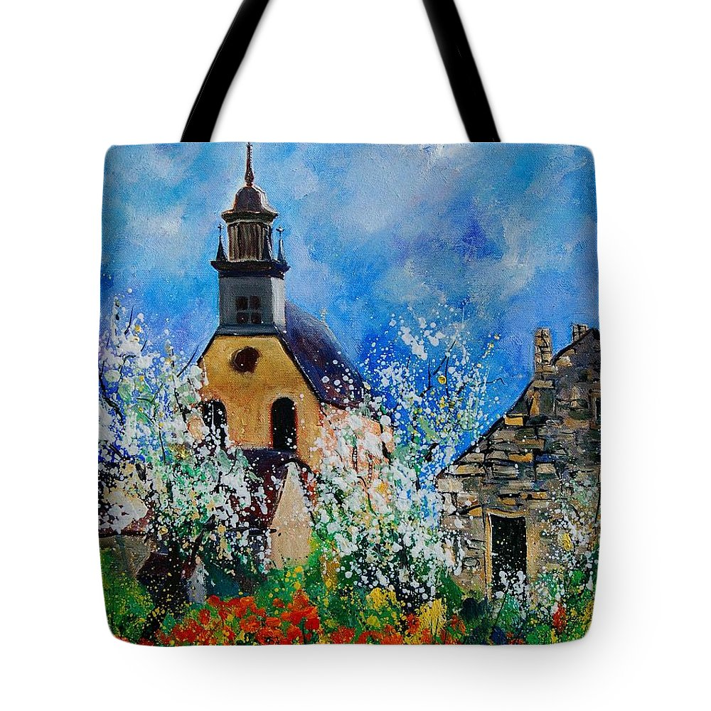 Spring Tote Bag featuring the painting Spring In Foy Notre Dame Dinant by Pol Ledent