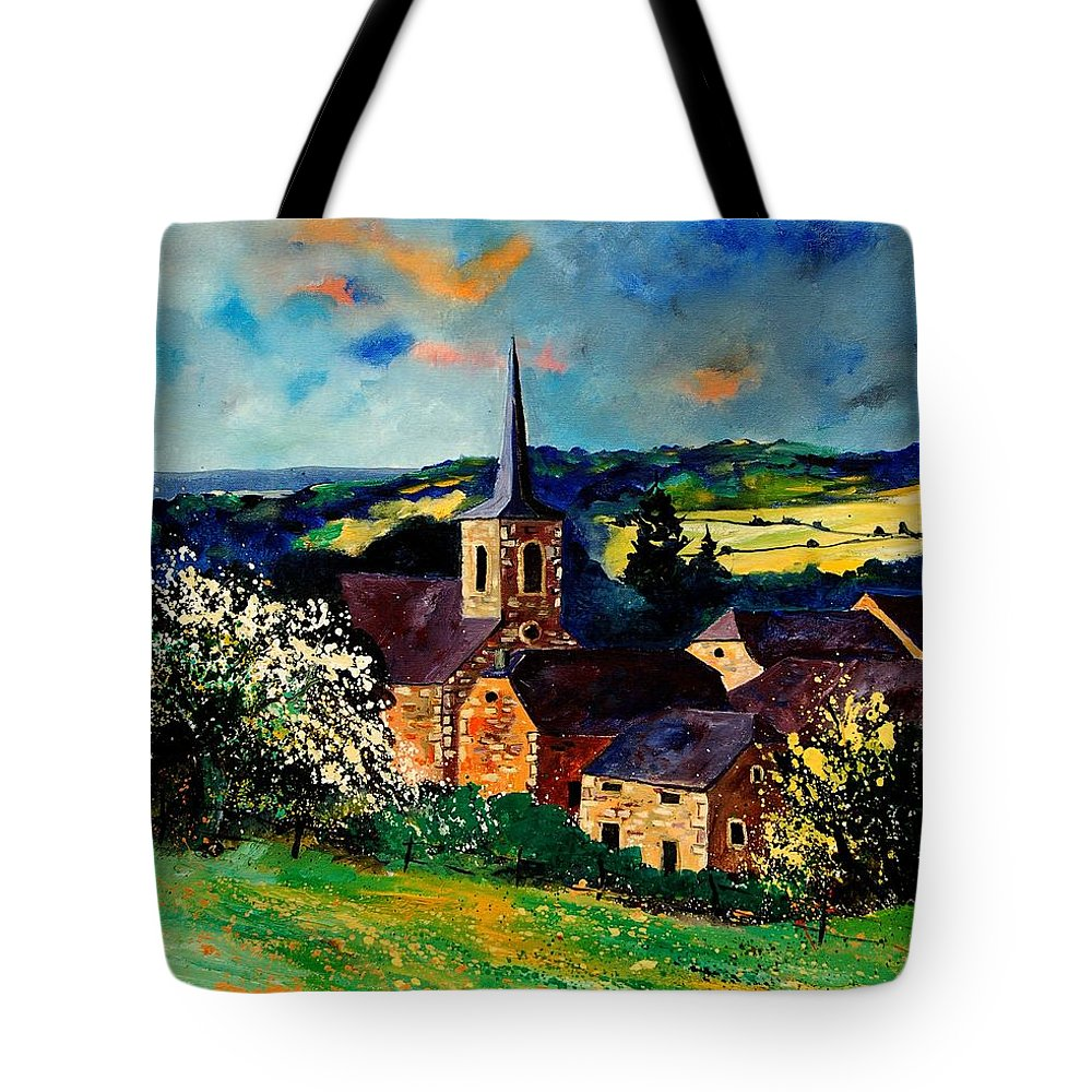 Spring Tote Bag featuring the painting Spring In Gendron by Pol Ledent