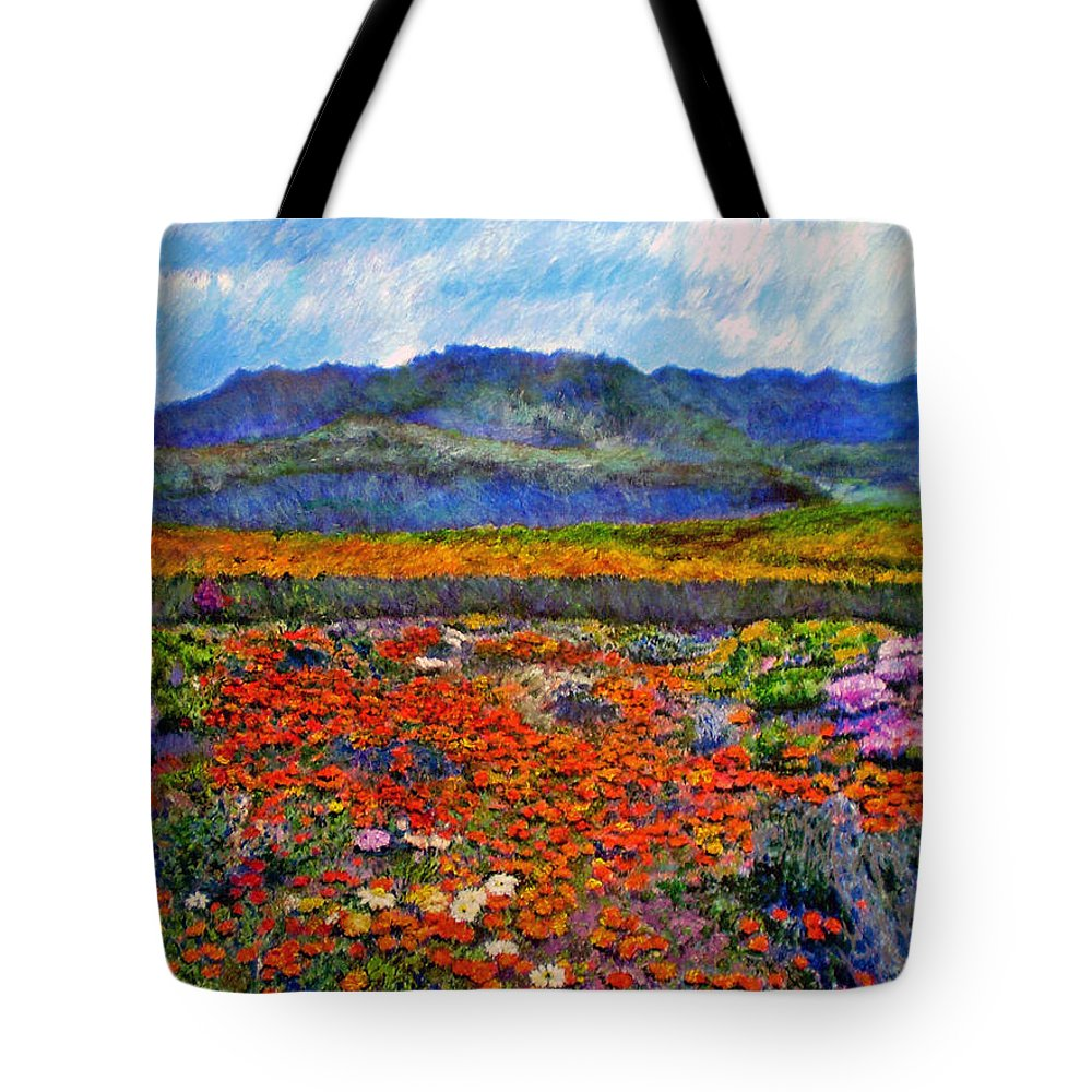 Spring Tote Bag featuring the painting Spring In Namaqualand by Michael Durst