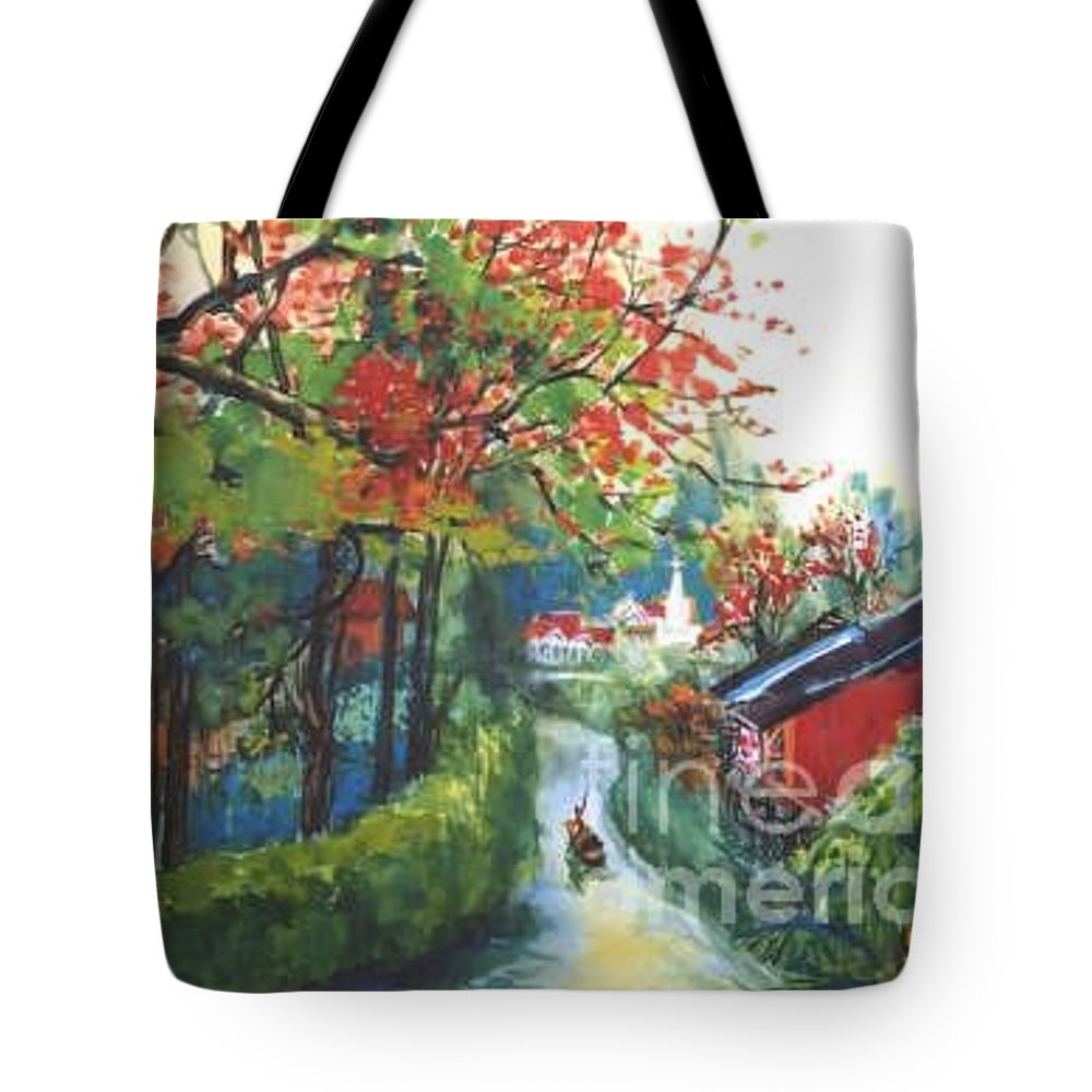 Spring Tote Bag featuring the painting Spring In Southern China by Guanyu Shi