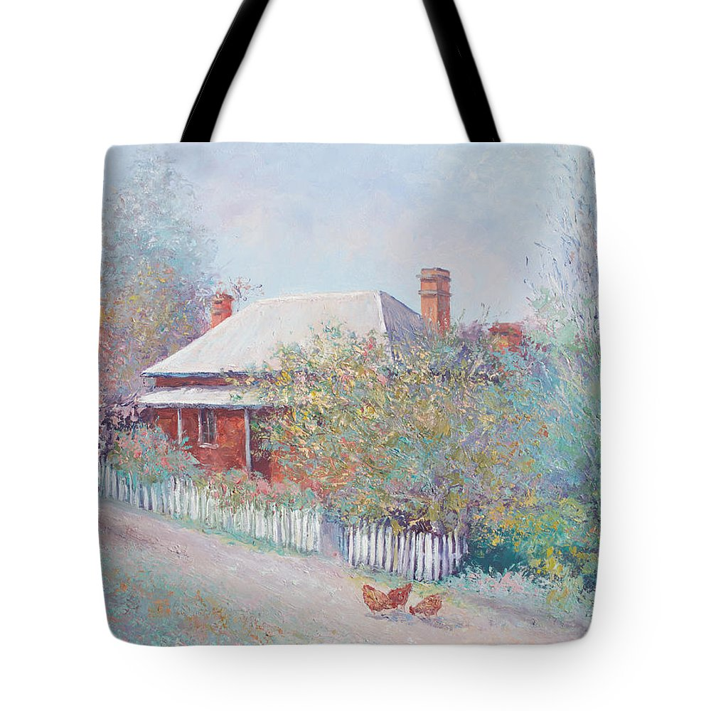 Landscape Paintings Tote Bag featuring the painting Spring In The Country by Jan Matson