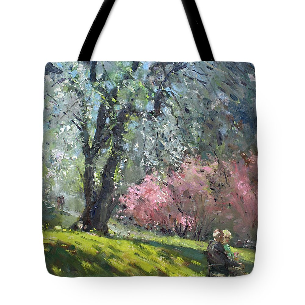 Spring Tote Bag featuring the painting Spring In The Park by Ylli Haruni
