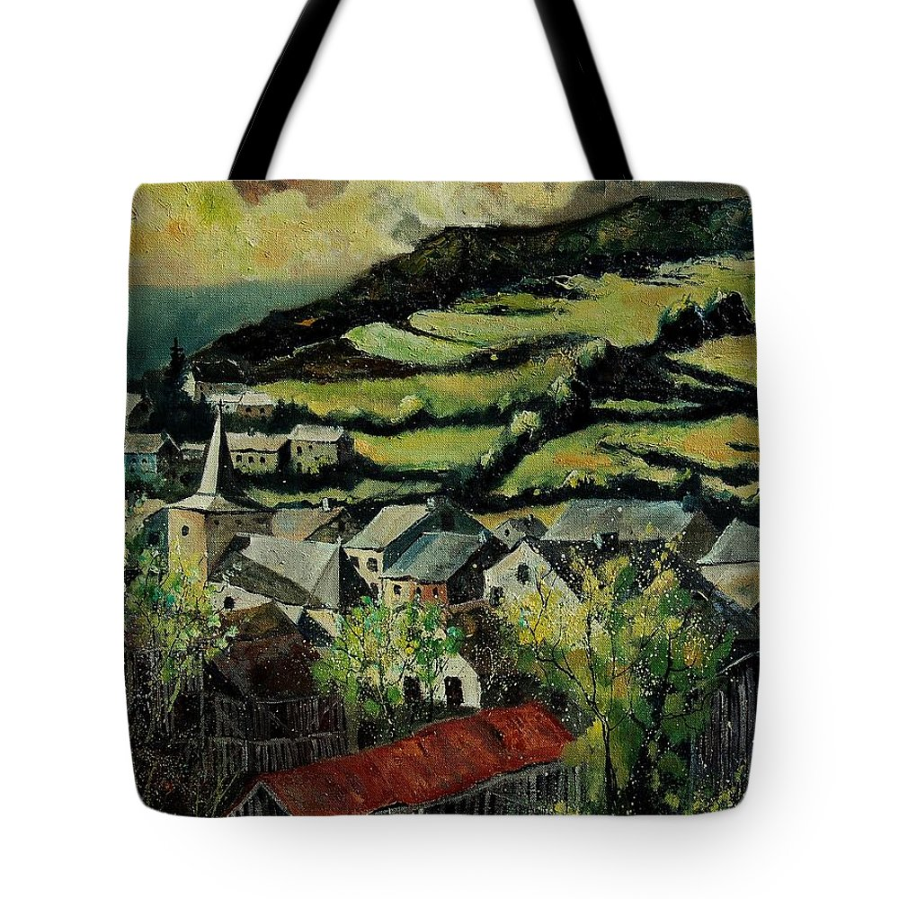 Spring Tote Bag featuring the painting Spring In Vresse Ardennes Belgium by Pol Ledent