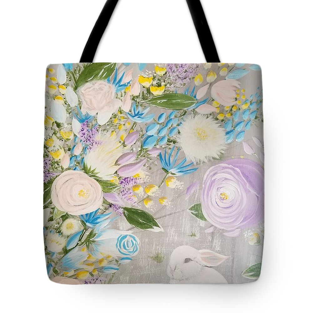 Easter Tote Bag featuring the painting Spring Into Easter by Roxane Gabriel