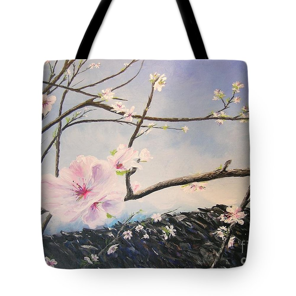 Flower Tote Bag featuring the painting Spring Is In The Air by Lizzy Forrester