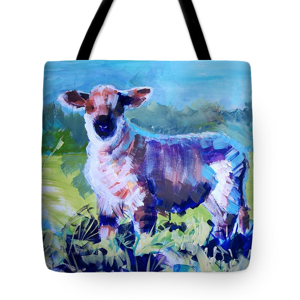 Lamb Tote Bag featuring the painting Spring Lamb by Mike Jory