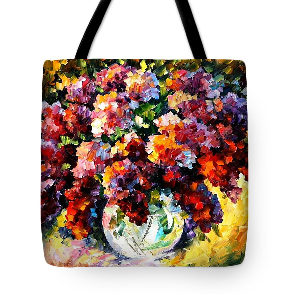 Afremov Tote Bag featuring the painting Spring Lilac by Leonid Afremov