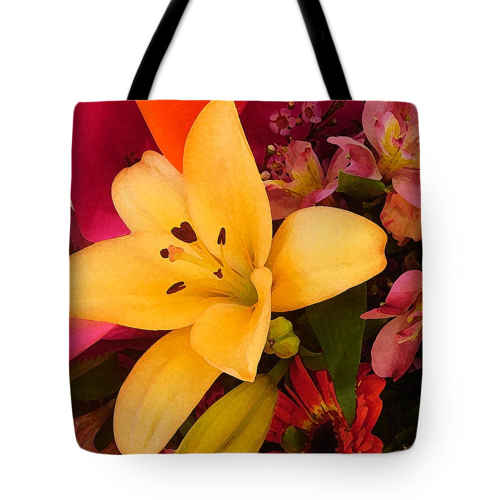 Lily Tote Bag featuring the painting Spring Lily Bouquet by Amy Vangsgard