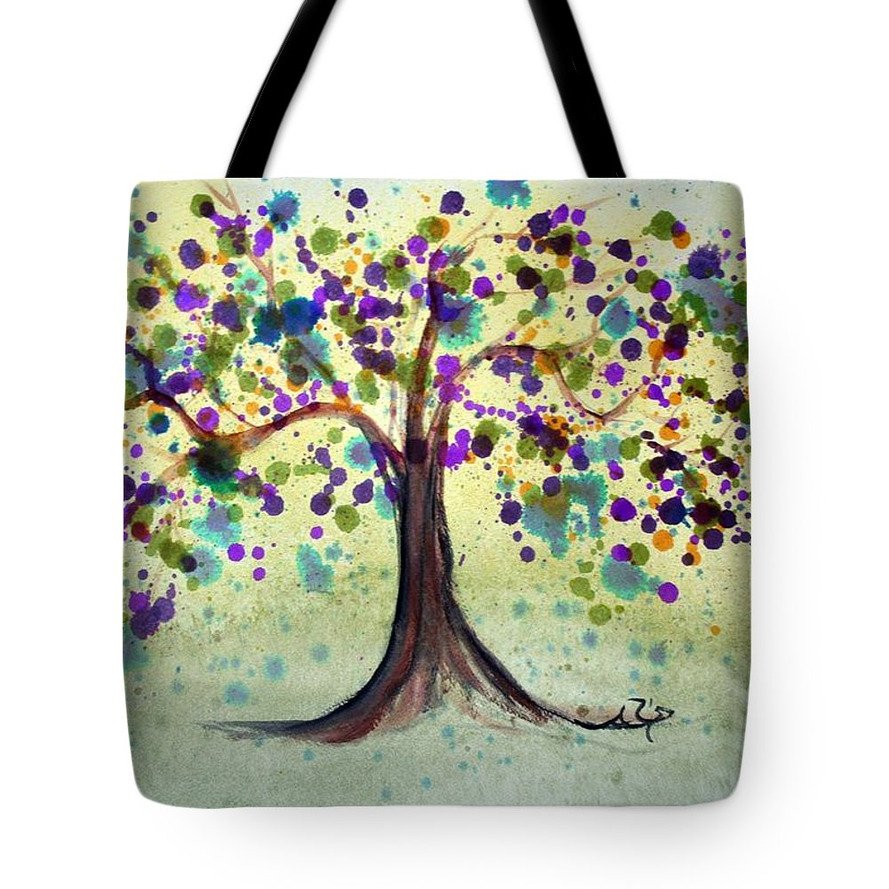 Spring Tote Bag featuring the painting Colorful Tree by Alma Yamazaki