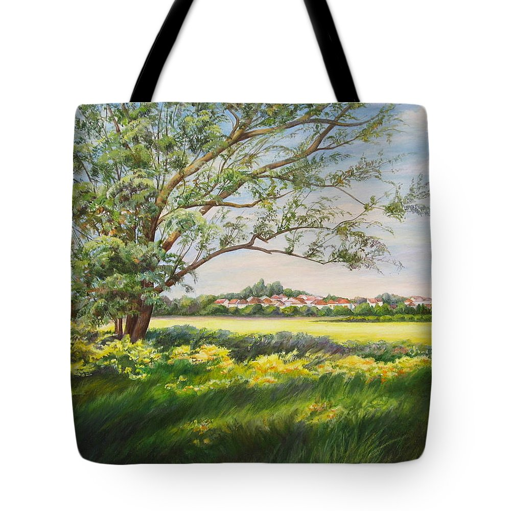 Landscape Tote Bag featuring the painting Spring by Maya Bukhina