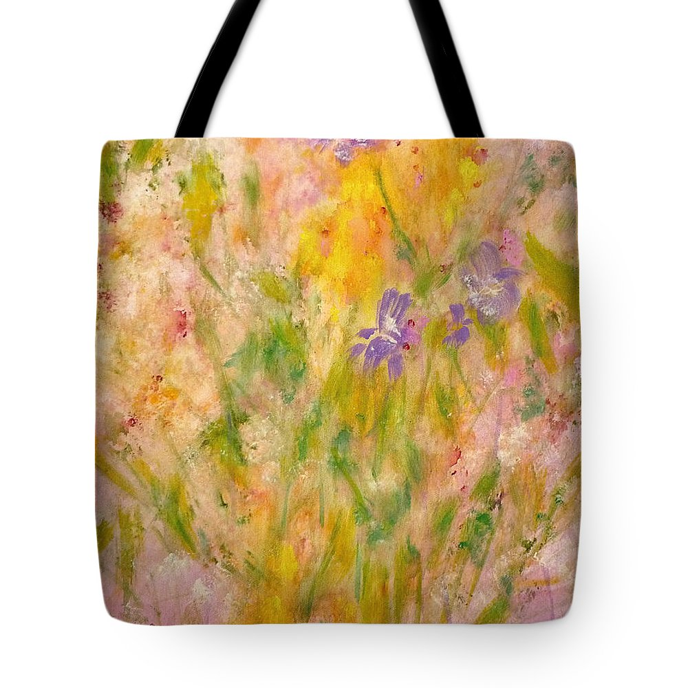 Spring Meadow Tote Bag featuring the painting Spring Meadow by Claire Bull