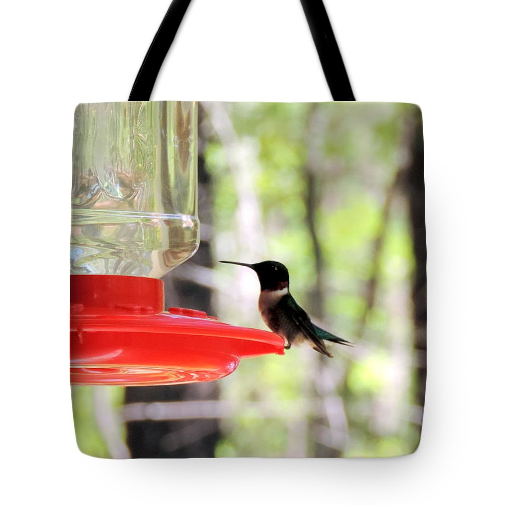 A Flash Of Green And Red Tote Bag featuring the photograph Spring Migration Hummingbird by Roe Rader