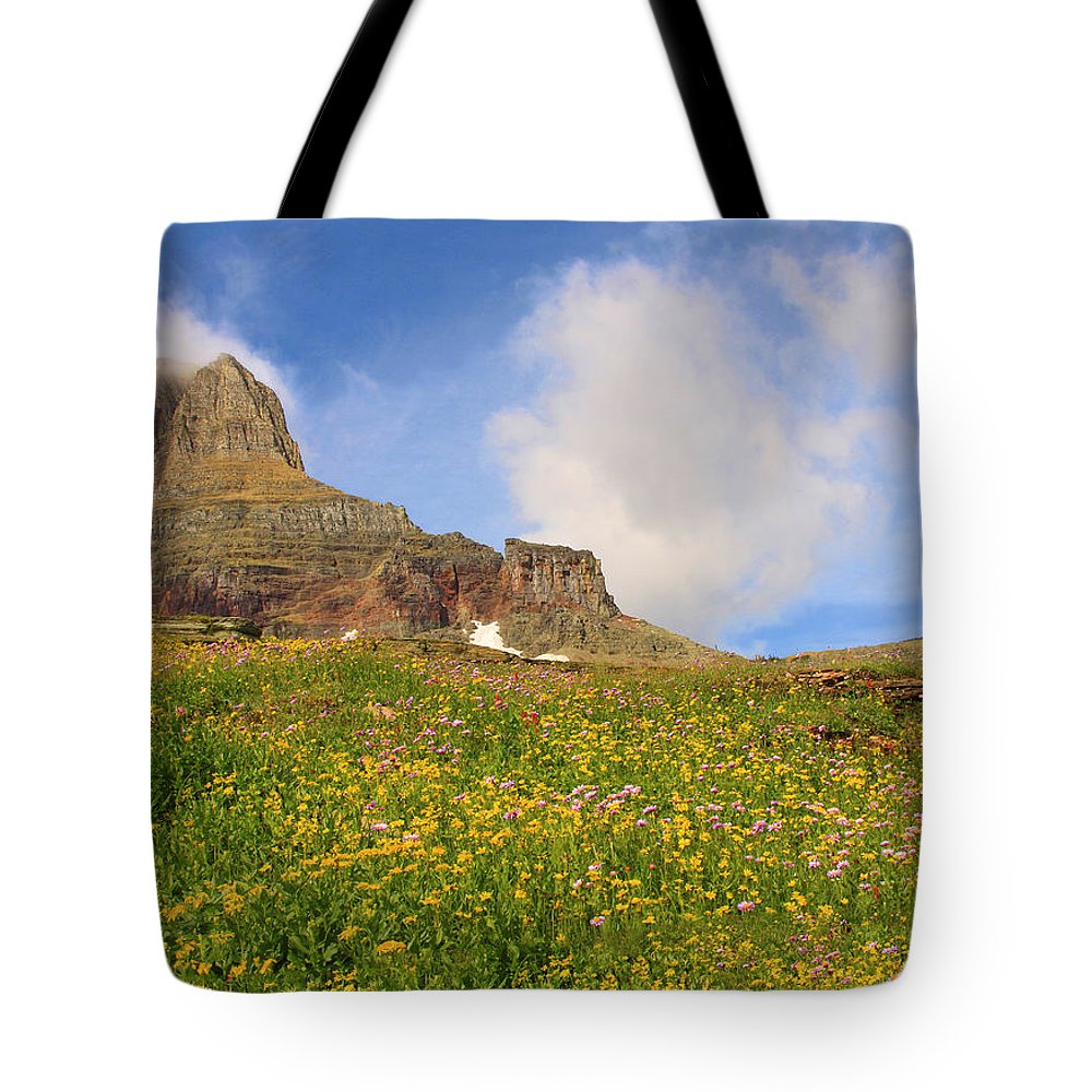 Glacier Tote Bag featuring the photograph Spring Mountain by Shari Jardina