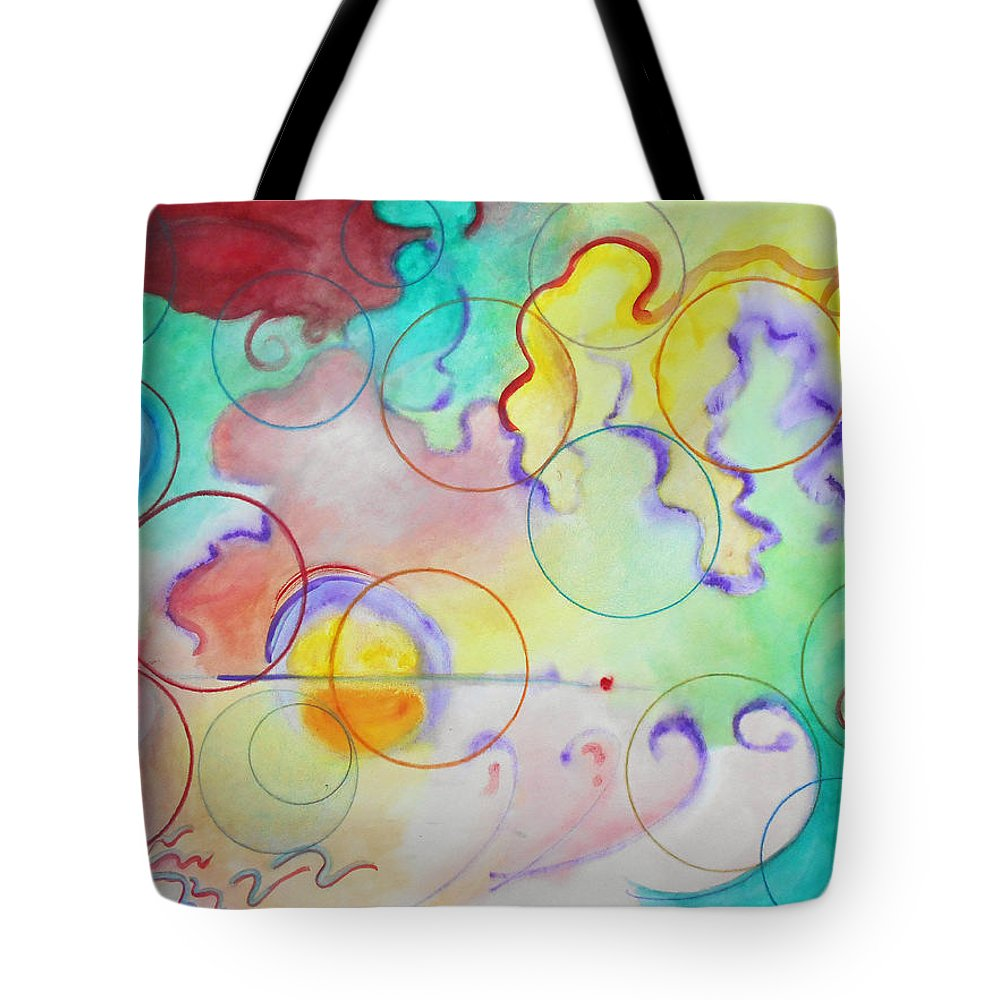 Watercolor Abstract Expressionist Expressionism Painting Paintings Bright Color Multicolored Circles Tote Bag featuring the painting Spring Of Hope by Laura Joan Levine