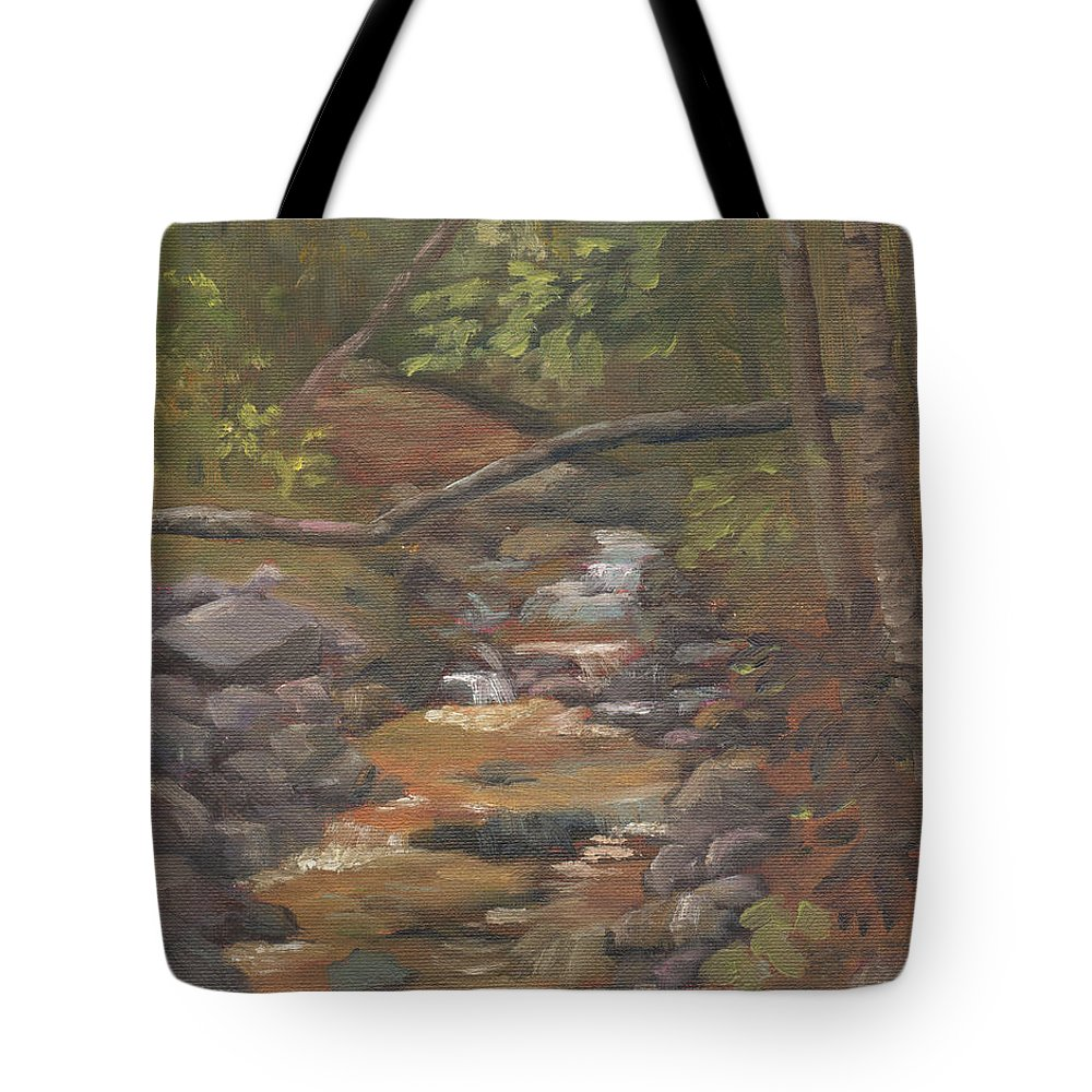 Waterfall Tote Bag featuring the painting Spring on the Gale River by Sharon E Allen