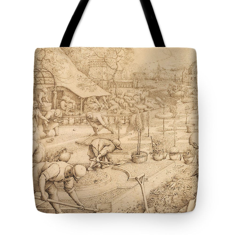 Netherlandish Painters Tote Bag featuring the drawing Spring by Pieter Bruegel the Elder