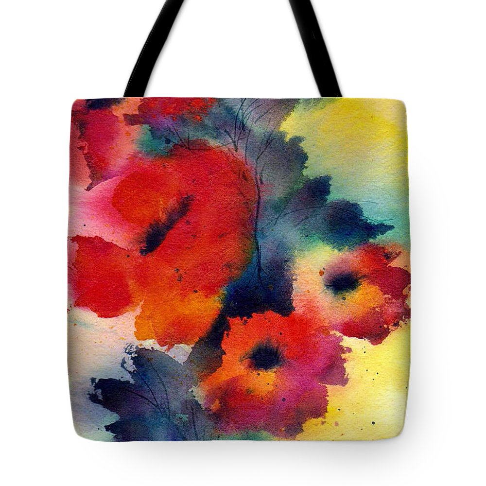 Poppies Tote Bag featuring the painting Spring Quartet by Anne Duke