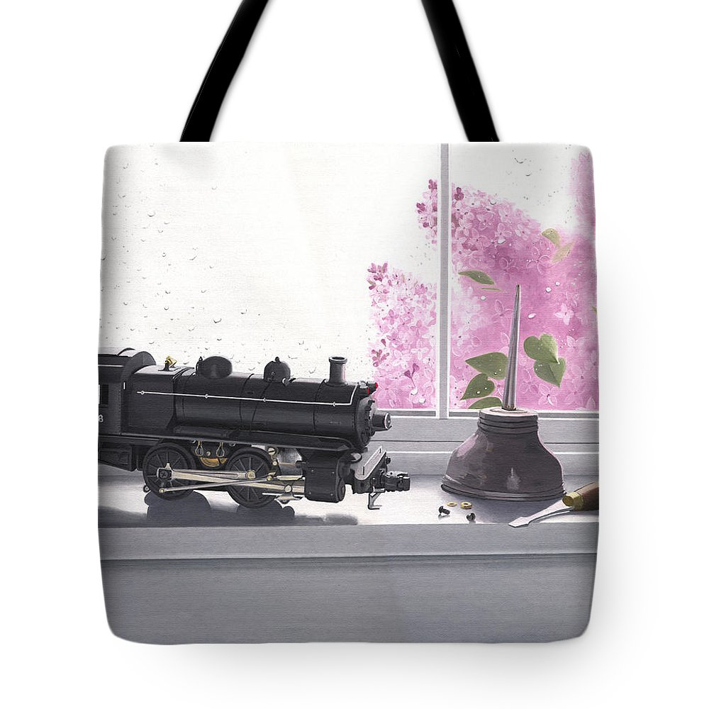 Lionel Tote Bag featuring the painting Spring Rain Electric Train by Gary Giacomelli