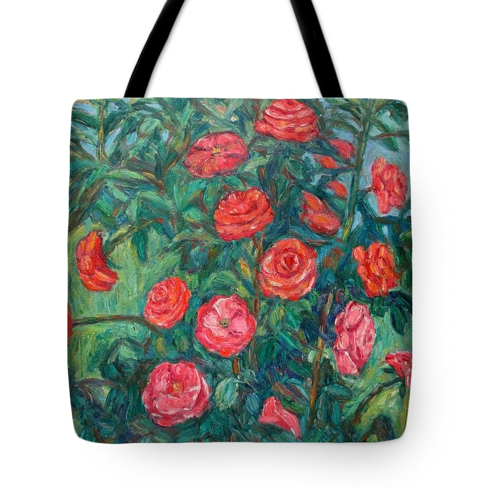 Rose Tote Bag featuring the painting Spring Roses by Kendall Kessler