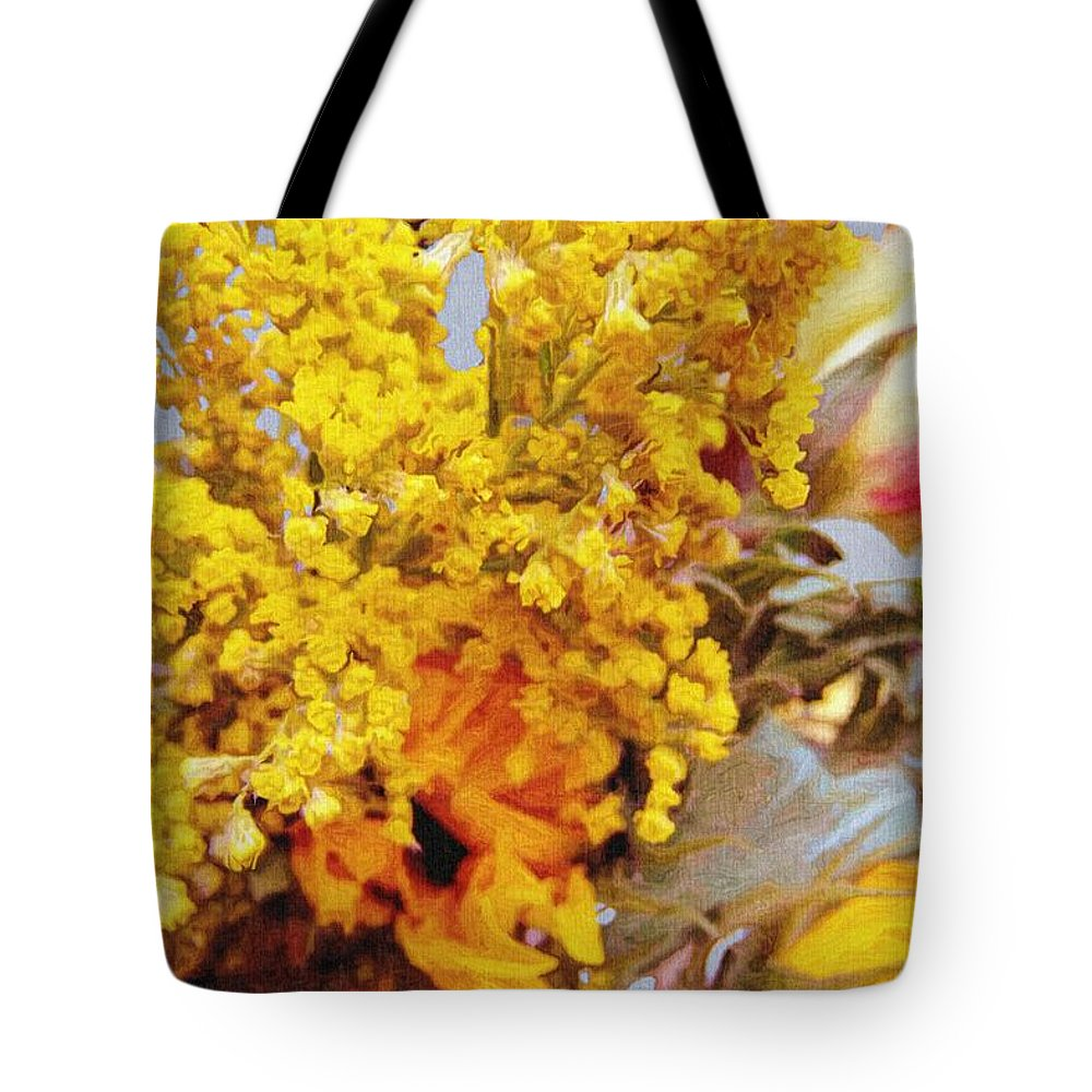 Blue Tote Bag featuring the painting Spring Sky Bouquet by RC DeWinter