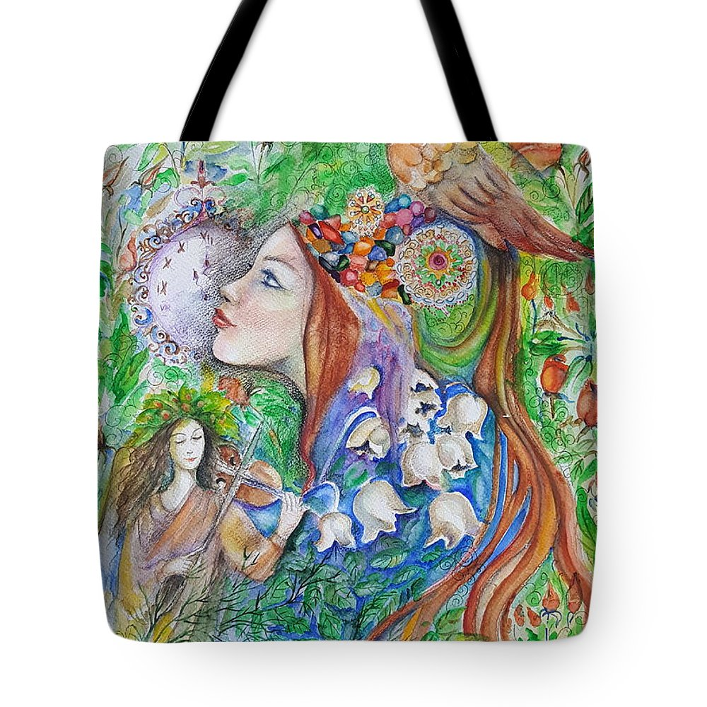 Lilies Of The Valley Tote Bag featuring the mixed media Spring Song by Rita Fetisov