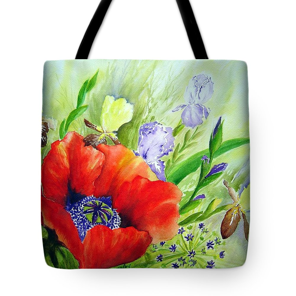 Poppy Iris Floral Painting Tote Bag featuring the painting Spring Splendor by Joanne Smoley