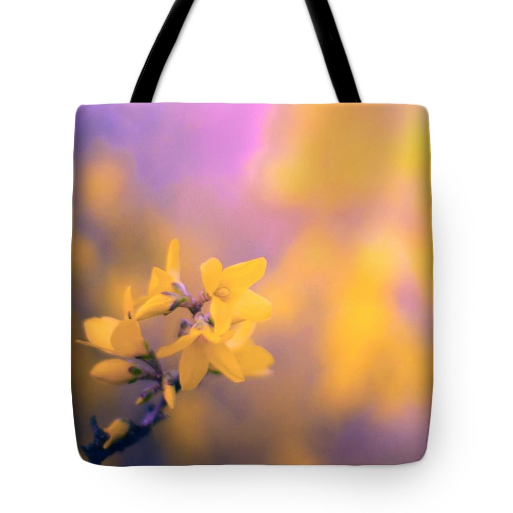 Yellow Forsythia Flowers Tote Bag featuring the photograph Spring Sproing by Susan Maxwell Schmidt