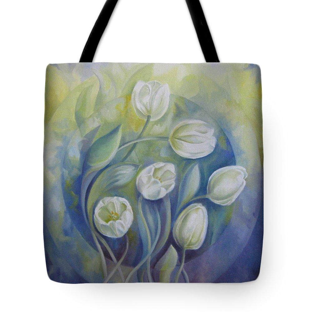 Flowers Tote Bag featuring the painting Spring Symphony by Elena Oleniuc