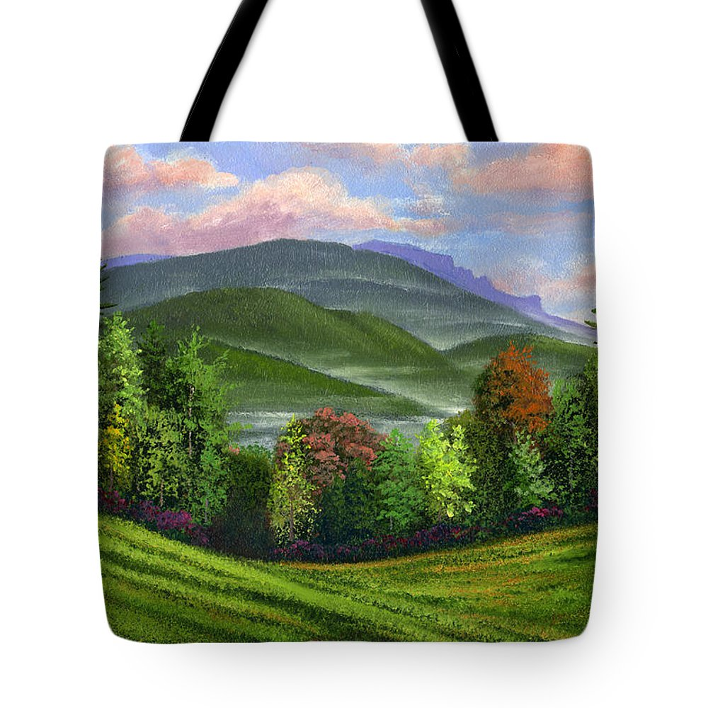 Landscape Tote Bag featuring the painting Spring Time by Frank Wilson