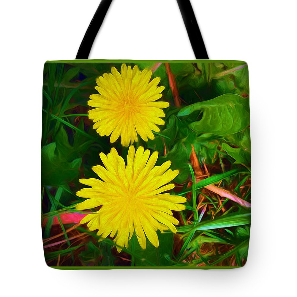 Two Tote Bag featuring the mixed media Spring Time Series Painting by Debra Lynch