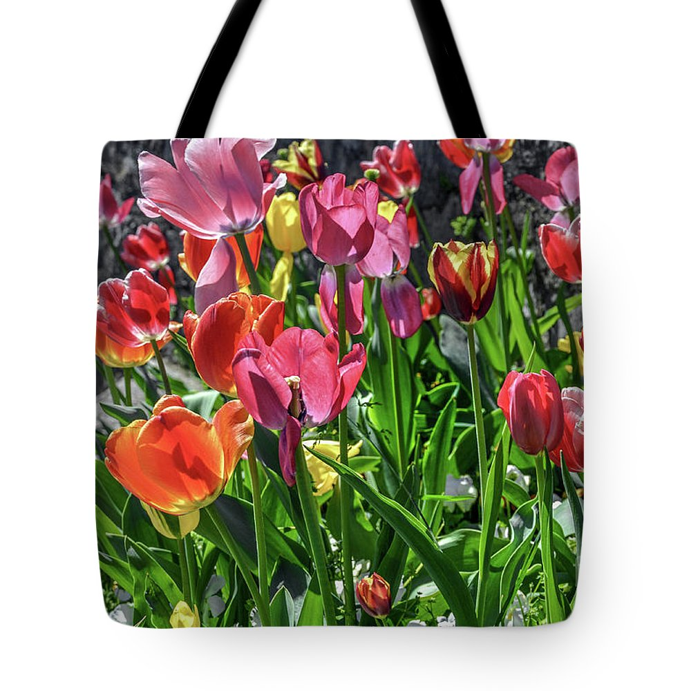 Flower Tote Bag featuring the photograph Spring Tulips by David Meznarich