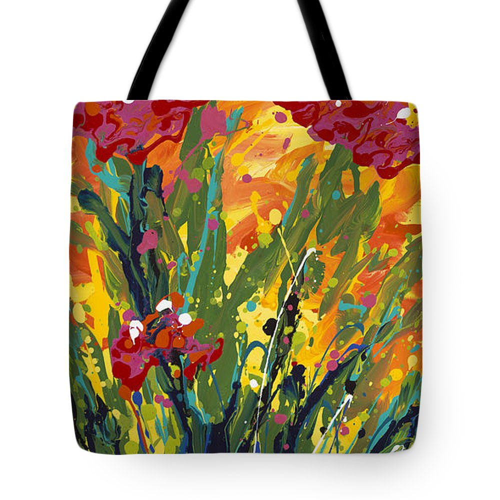 Spring Tote Bag featuring the painting Spring Tulips Triptych Panel 1 by Nadine Rippelmeyer