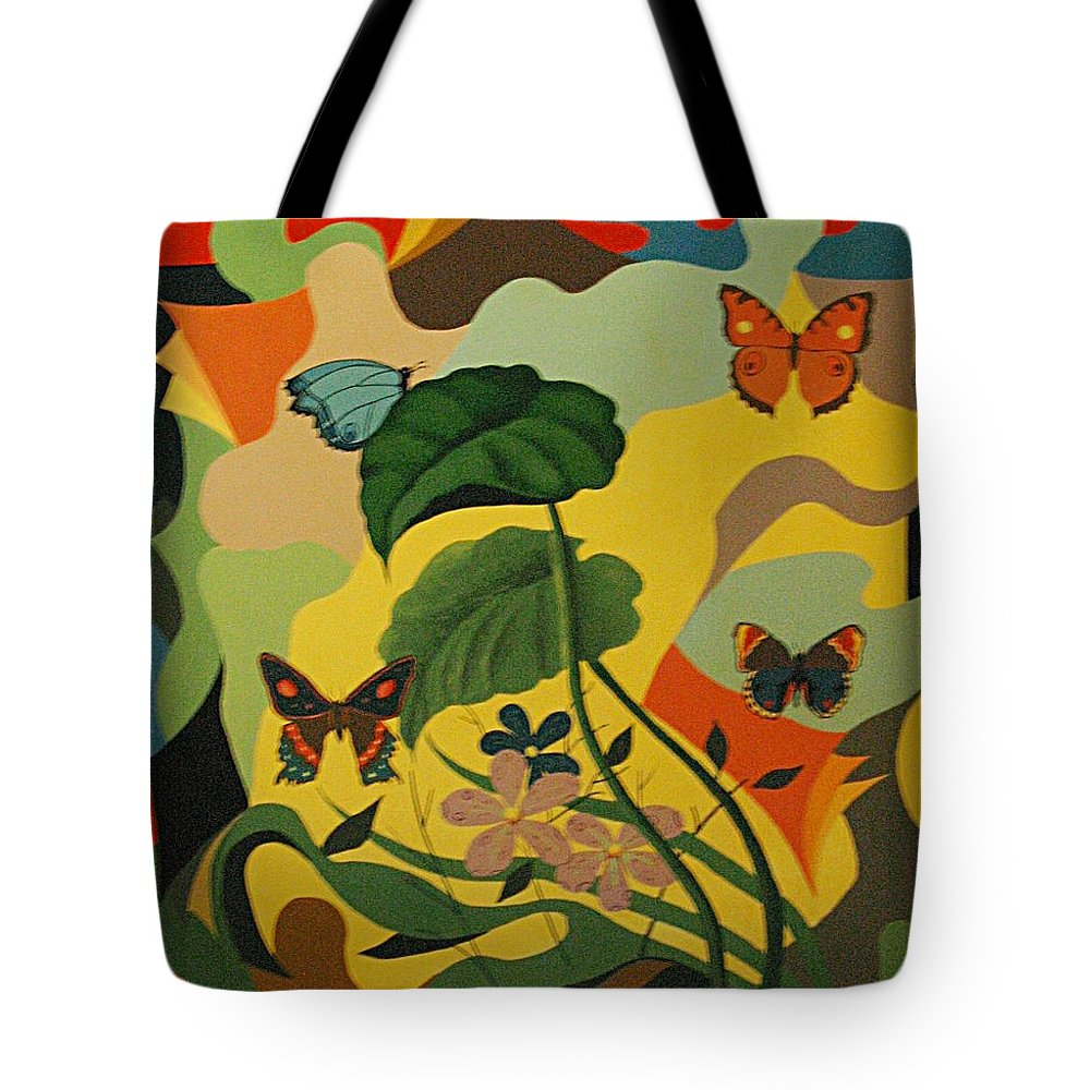 Abstract Tote Bag featuring the painting Spring by Vasilis Bottas