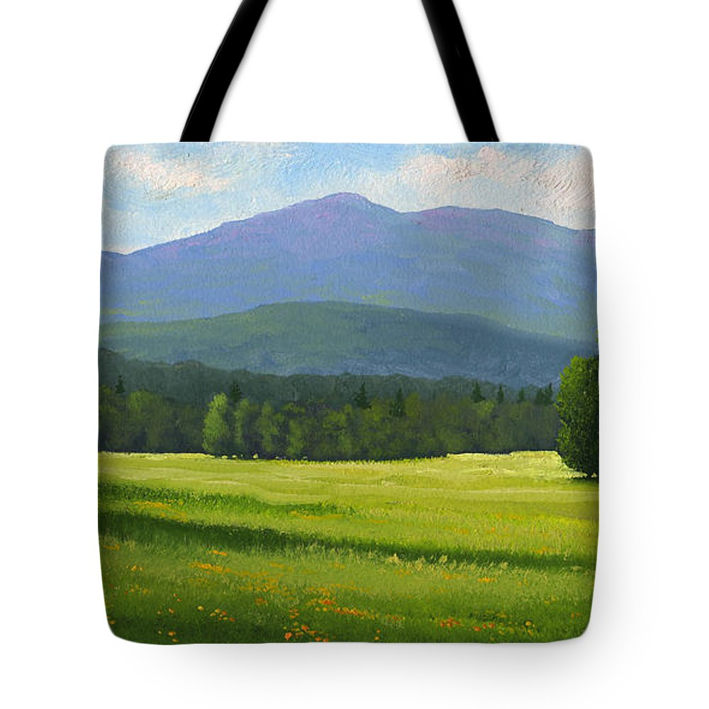 Landscape Tote Bag featuring the painting Spring Vista by Frank Wilson